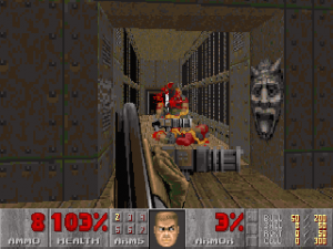 Heavy Weapon Dude sucumbe ante la double shotgun de Doomguy